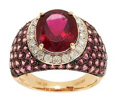 3.20 ct Oval Rubellite and 2.15 ct tw Tourmaline Ring 14K Gold