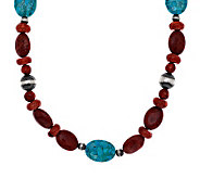 American West Composite Coral & Turquoise 21-3/4 Necklace - J282404