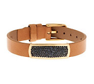 Italian Gold Black Spinel Station Leather Bracelet, 14K - J284004
