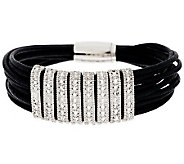 Vicenza Silver Sterling Diamond Cut Station Leather Bracelet - J284704
