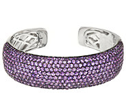 Pave Gemstone Bold Sterling Silver Average Hinged Cuff 12.50 ct tw - J287104