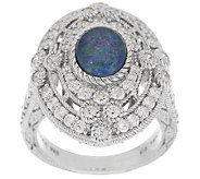 Judith Ripka Sterling Oval Opal Triplet and 2.05cttw Diamonique Ring - J288804