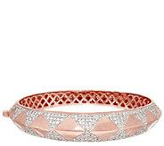 Bronze Crystal Design Hinged Bangle by Bronzo Italia - J292404
