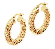 As Is VicenzaGold 1 Diamond Cut Hoop Earrings, 14K Gold Tube - J293304