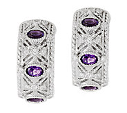 Judith Ripka Sterling Amethyst and Diamonique J-Hoop Earrings - J293704