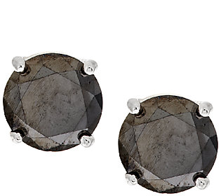 Product image of Black Solitaire Diamond Stud Earrings, Sterling, 2 ct, by Affinity