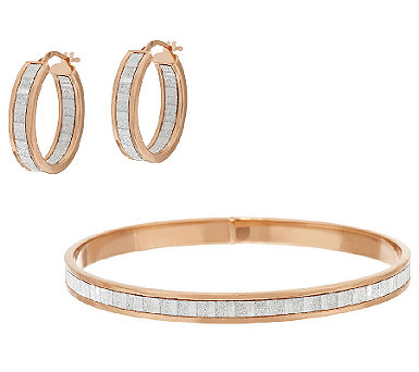 VicenzaSilver Sterling Pave' Glitter Hoop Earrings or Round Bangle - J296604