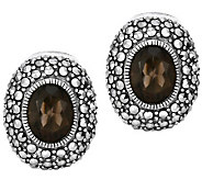 Suspicion Sterling Marcasite & Smoky Quartz Oval Earrings - J309804