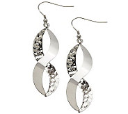 Stainless Steel Polished & Textured Twist Dangle Earrings - J310504