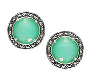 Suspicion Marcasite Round Chrysoprase Doublet Earrings, Sterl - J310604