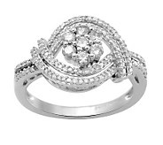 Round Diamond Flower Ring, Sterling, 1/2 cttw,by Affinity - J311004
