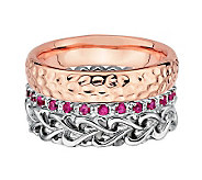 Simply Stacks Sterling Two-Tone Love Ring Set - J312704