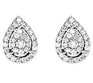 Diamond Cluster Teardrop Stud Earrings, 14K, byAffinity - J313404