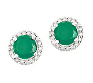 Sterling Emerald 1/4 ct tw Diamond Halo Stud Earrings - J314104