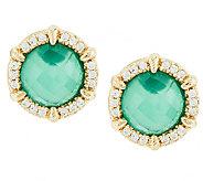 Judith Ripka Sterling &14k Clad Green Goddess Doublet Button Earrings - J317804
