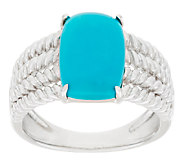 Sleeping Beauty Turquoise Rope Design Sterling Silver Ring - J318104