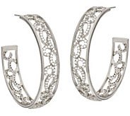 Vicenza Silver Sterling 1-1/2 Scroll Design Round Hoop Earrings - J321504