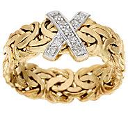 14K Gold Diamond Accent Byzantine Band Ring - J322304