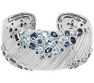 Judith Ripka Sterling Scattered Blue Topaz Cuff Bracelet - J322504