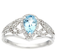 Pear Shaped Santa Maria Aquamarine & Diamond Ring, 14K, 0.60 ct - J328504