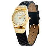As Is Isaac Mizrahi Live! Mini Round Leather Quilted Strap Watch - J328704