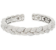 As Is Judith Ripka Sterling 1.55 ct tw Diamonique Braided Cuff - J329004