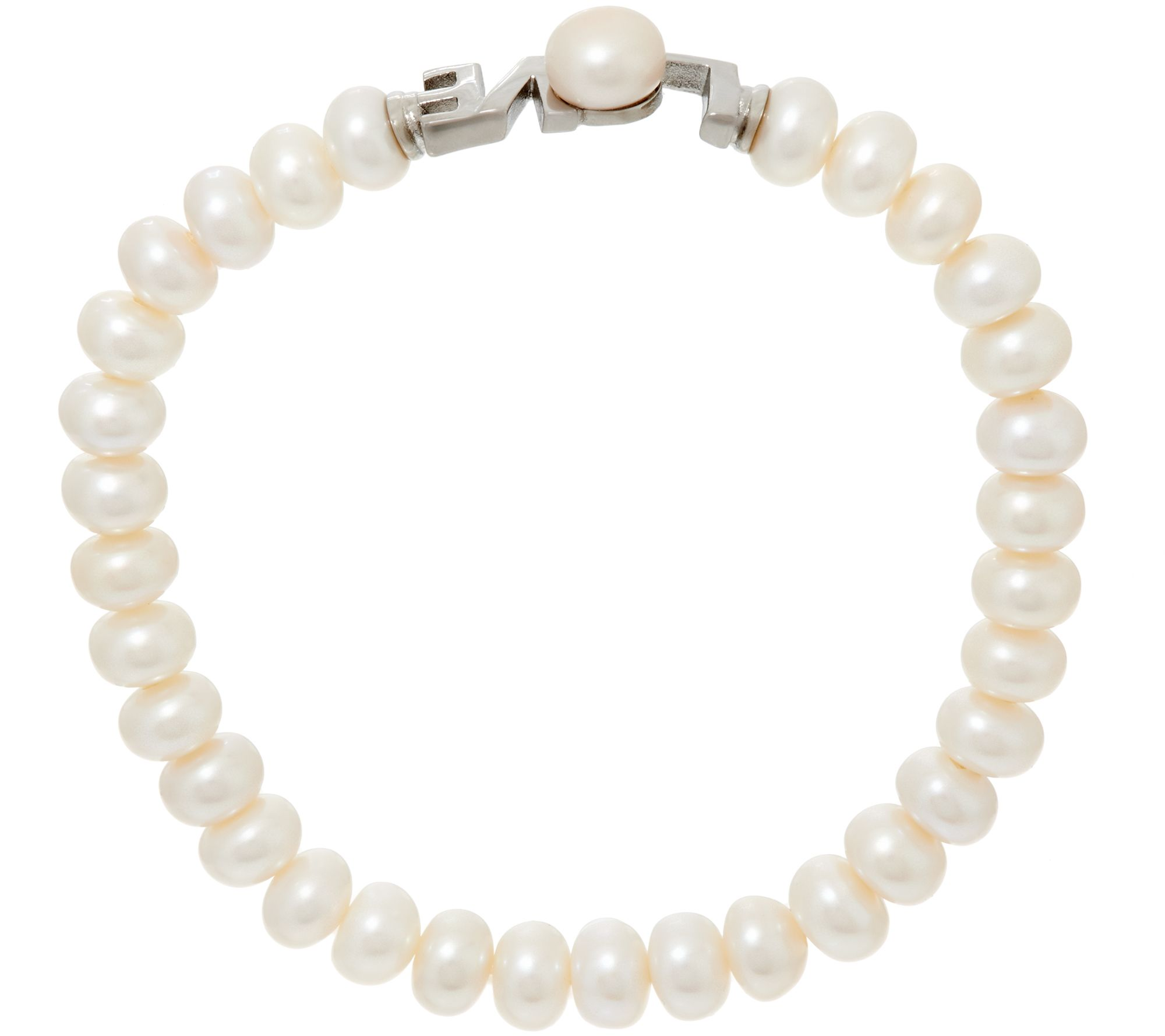 Honora Cultured Pearl 60mm Love Stainless Steel Stretch Bracelet  Page 1  — Qvc
