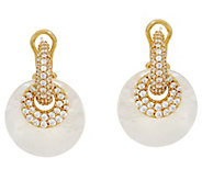 Judith Ripka 14K Clad Pave& Mother of Pearl Changeable Earrings - J329704