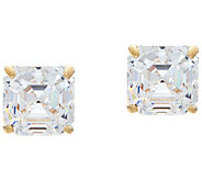 Diamonique 2.00 cttw Asscher Stud Earrings, 14K Gold - J330204