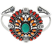 Sterling Spiny Oyster Shell &  Turquoise Cuff by American West - J330504