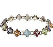 As Is Barbara Bixby Sterling & 18K 8.50 cttw Gemstone Flower 8 Bracelet - J331204