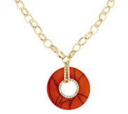 As Is Susan Graver Long Necklace with Marbleized Circle Pendant - J331704