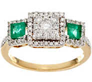 As Is Princess Cluster Diamond Emerald Ring14K 1/2cttwAffinity - J332504