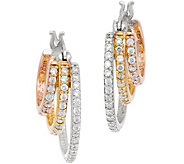 Diamonique Tri-color Triple Hoop Earrings Sterling - J348504