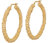 Italian Gold Ringed Design Hoop Earrings 14K Gold - J349604