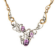 As Is Carolyn Pollack Harmony Faceted Sterl./ Brass Gemstone Necklace - J349704