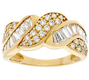 As Is Diamonique Round and Baguette Band Ring, 14K Gold - J349804