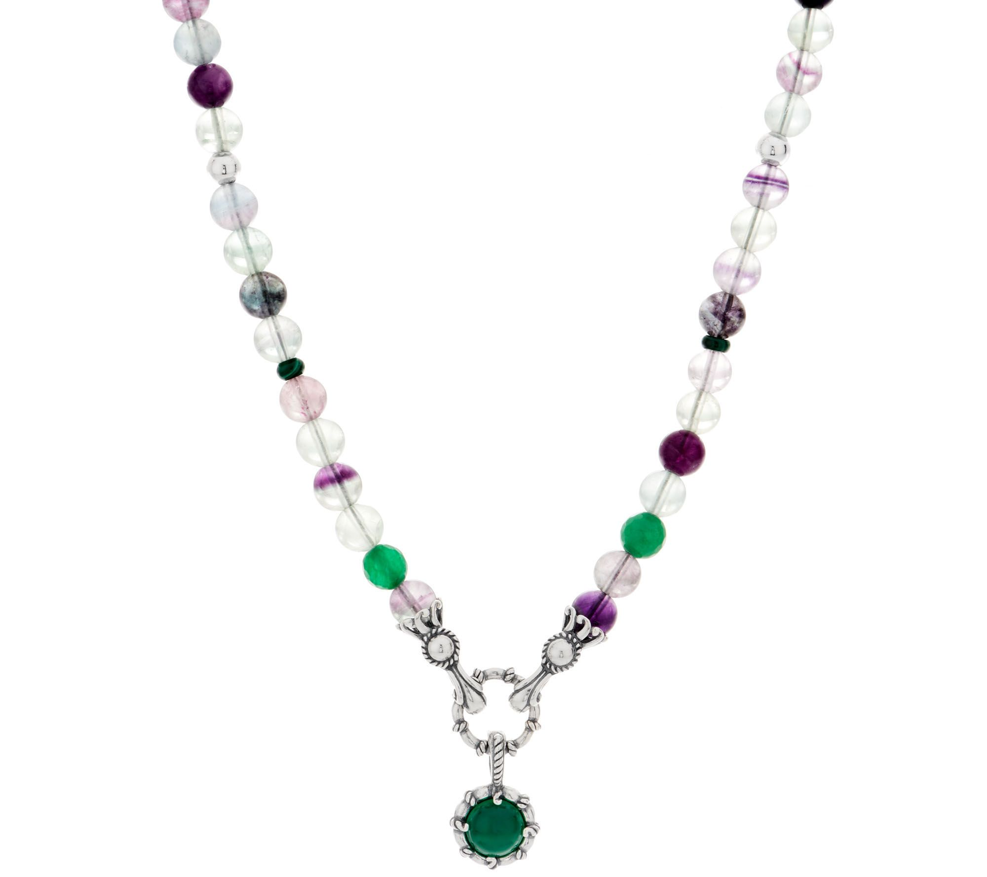 Carolyn Pollack Gemstone Bead Sterling Silver Necklace With Enhancer J352704
