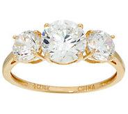 Diamonique Round Three Stone Ring, 14K Gold - J353404