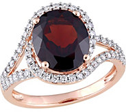 14K Gold 3.50 ct Garnet and 1/2 cttw Diamond Swirl Ring - J377104