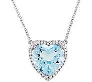 14K 6.85 ct Blue Topaz & 1/6 cttw Diamond HeartHalo Necklace - J377804