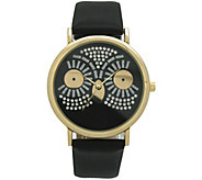 Oliva Pratt Womens Sparkly Owl Black Leather Watch - J379404