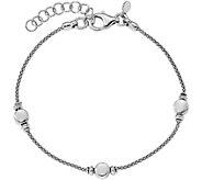 Italian Silver Mesh Bead Station Bracelet Sterling, 4.3g - J379704