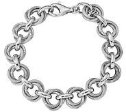 Italian Silver Textured Double Link Bracelet Sterling, 13.3g - J379804