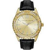 Sean John Mens Goldtone Black Leather Analog Watch - J380804