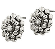 Stainless Steel Crystal Flower Stud Earrings - J383804