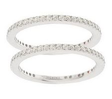 Hidalgo Diamonique Sterling Set of 2 Micropave'Eternity Rings