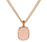 As Is Bronzo Italia Cushion Gemstone Pendant with Double Chain - J279505