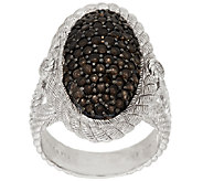 Judith Ripka Sterling Smoky Quartz Pave Oval Textured Ring - J288105