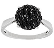 0.55 ct tw Black Spinel Round Pave Sterling Ring - J289005